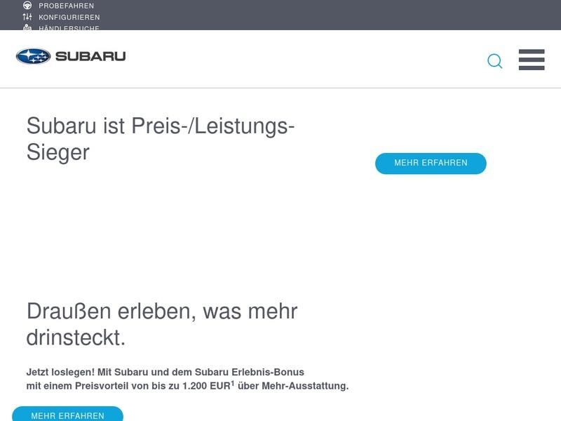 Screenshot von www.subaru.de